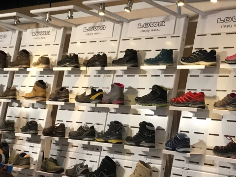 Lowa shoes displays
