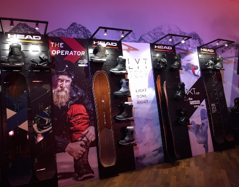 Head skis snowboard boots displays
