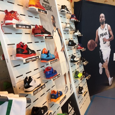 Peak Sport shoes displays
