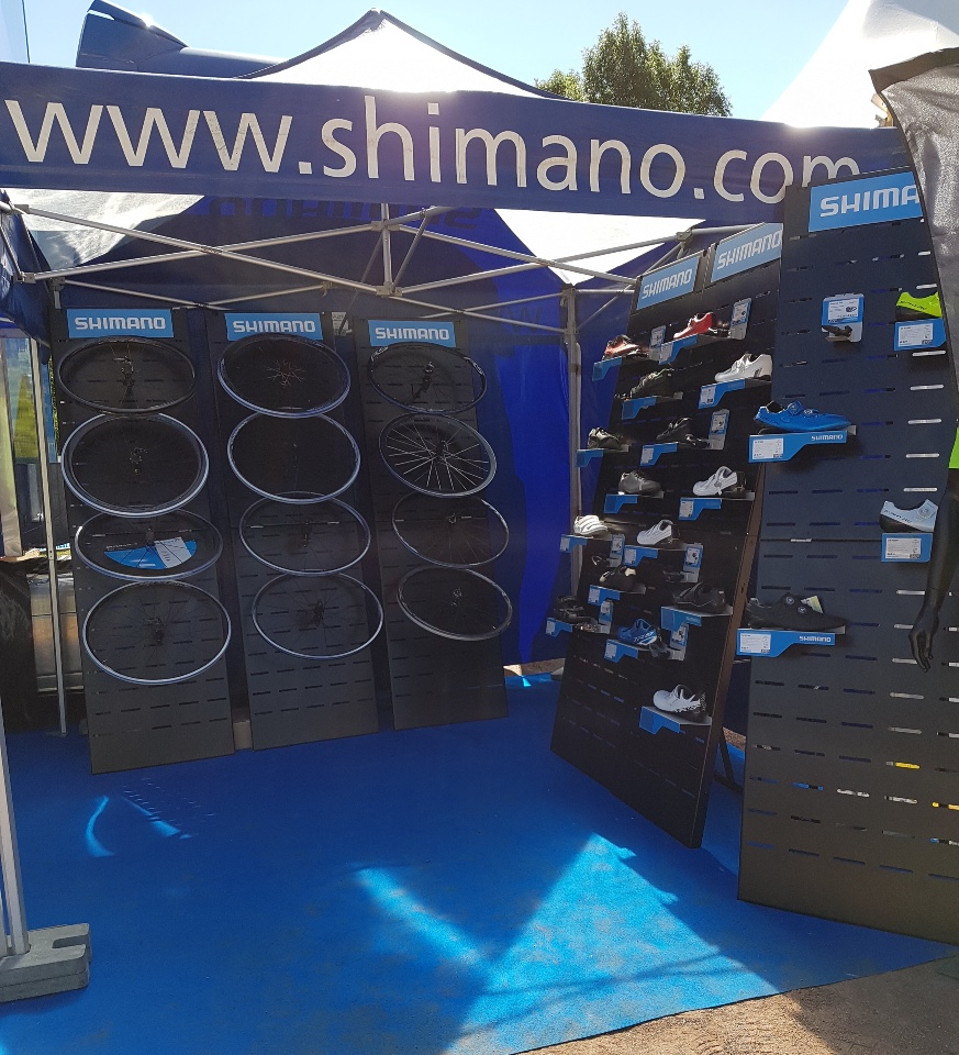 Shimano cycle wheels shoes displays 1
