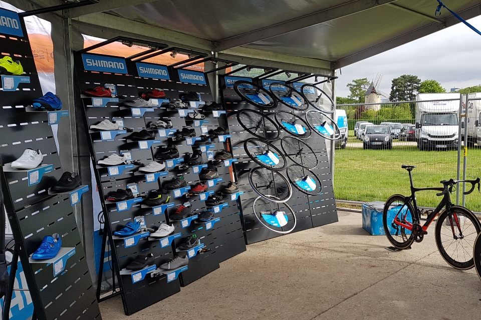 Shimano cycle wheels shoes displays
