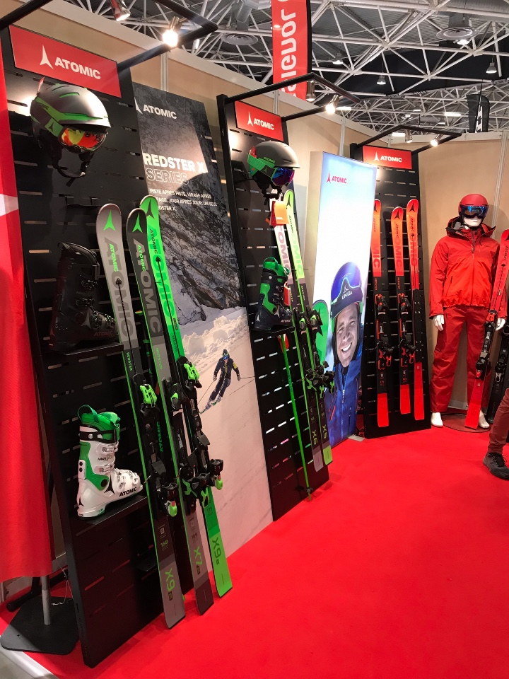 Amer Sports skis helmets and shoes displays 1