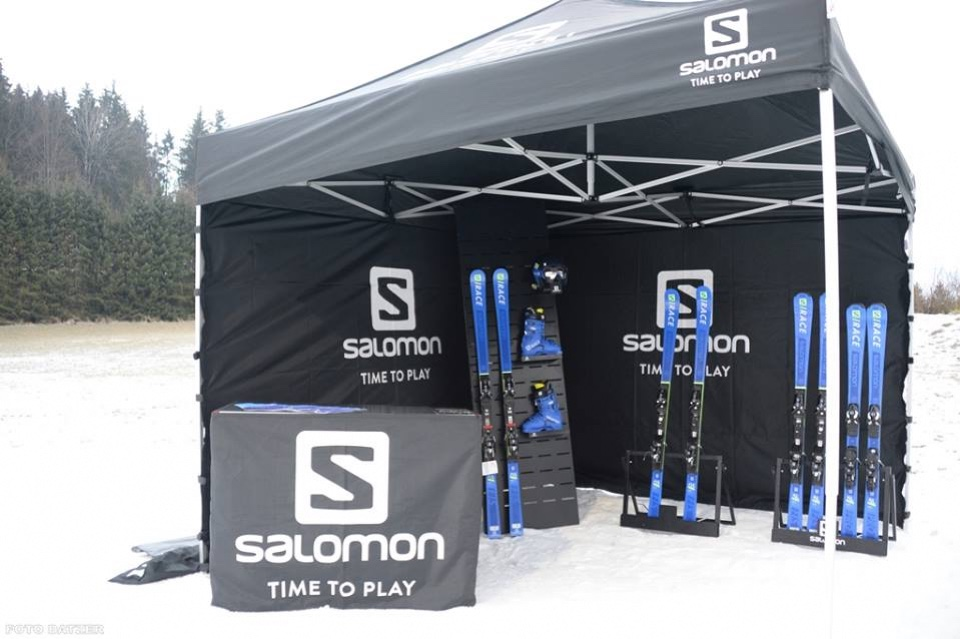 Salomon skis helmets and shoes displays 1