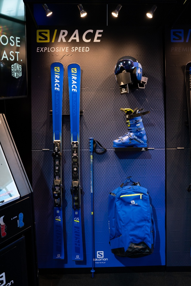 Salomon skis snowboards helmets googles and shoes displays 7