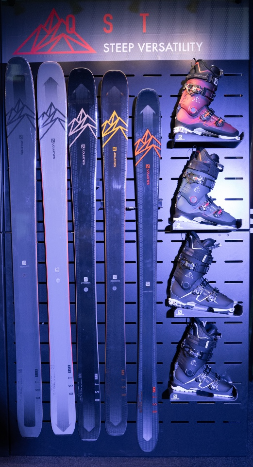 Salomon skis snowboards helmets googles and shoes displays 8