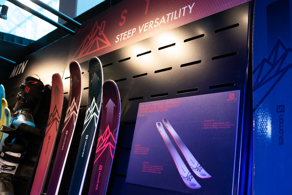 Salomon skis snowboards helmets googles and shoes displays 9