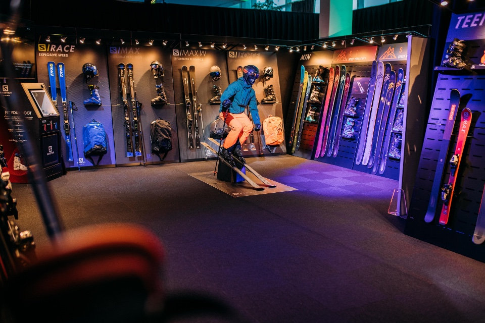 Salomon skis helmets and shoes displays