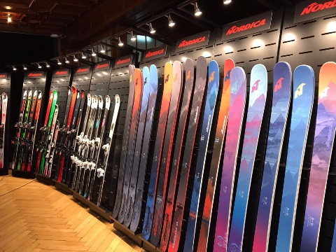 Nordica skis and shoes displays