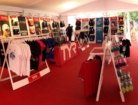 TYR swim accessories displays