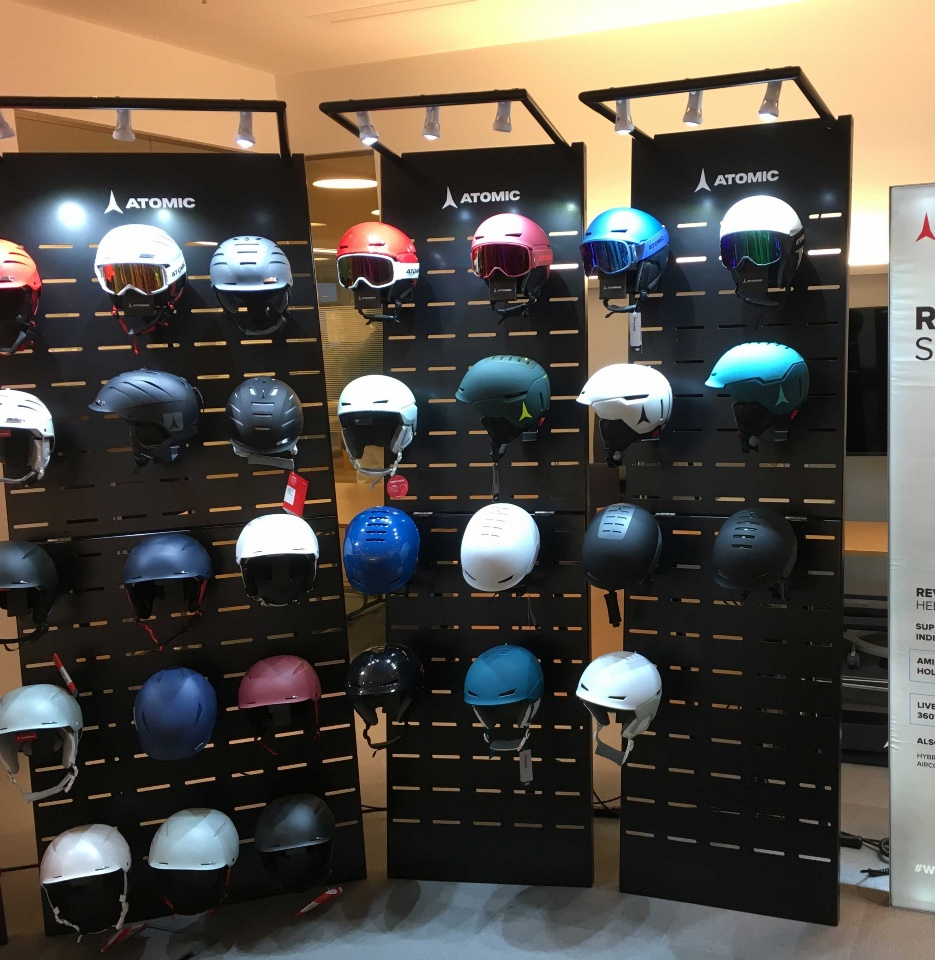 Atomic skis helmets and shoes displays 8