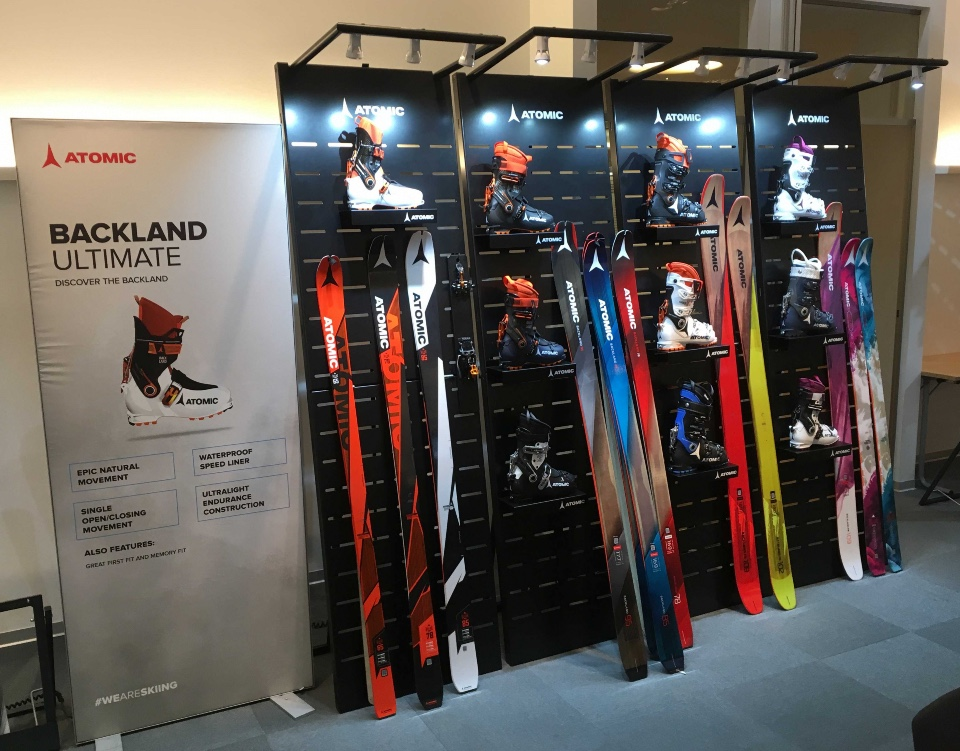 Atomic skis helmets and shoes displays 7