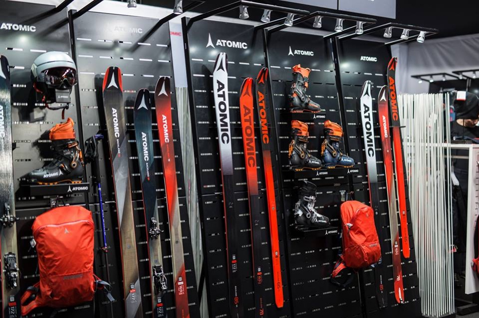 Atomic skis helmets and shoes displays 1