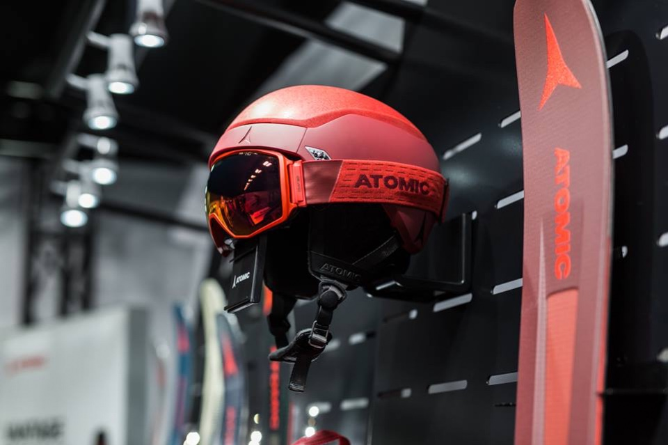 Atomic skis helmets and shoes displays 3