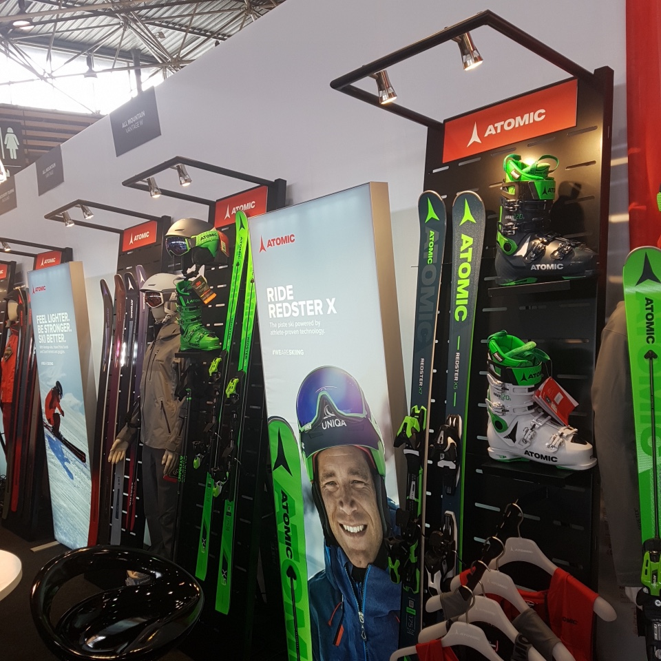 Atomic skis helmets and shoes displays 5