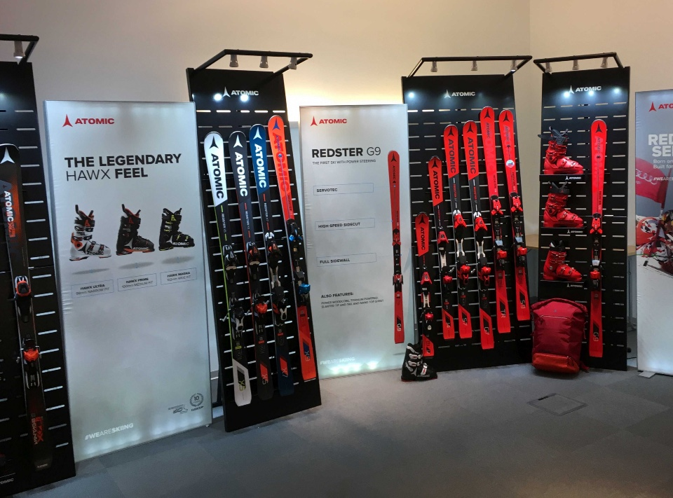 Atomic skis helmets and shoes displays 6