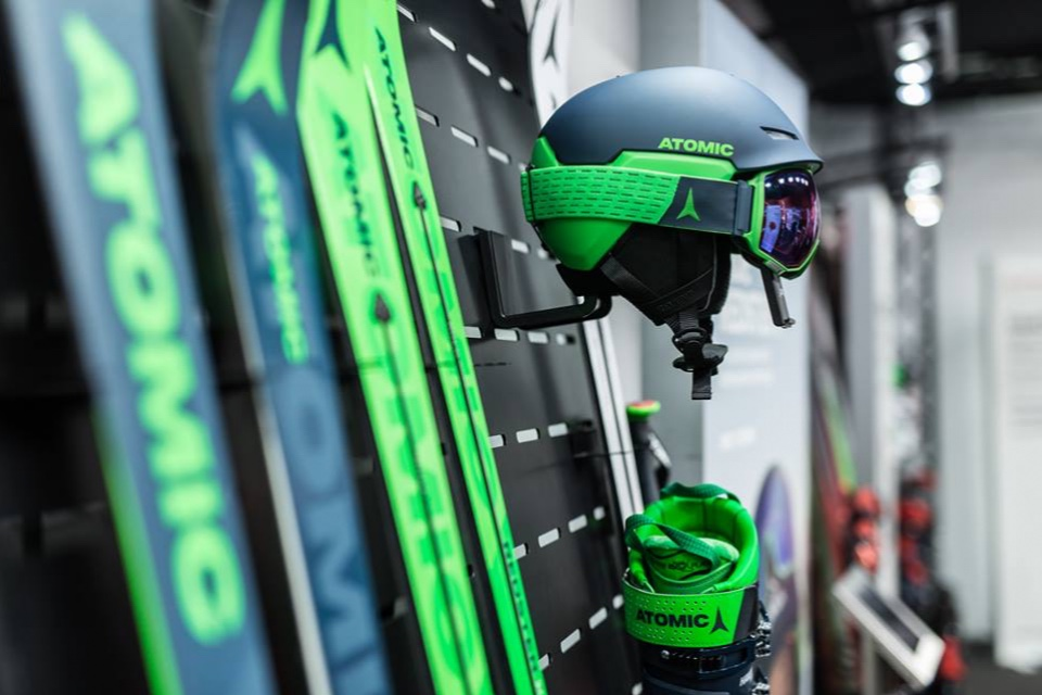 Atomic skis helmets and shoes displays