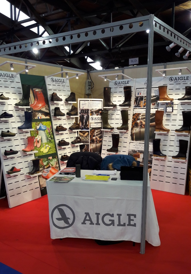 Aigle textiles shoes boots displays 1