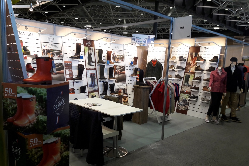 Aigle textiles shoes boots displays