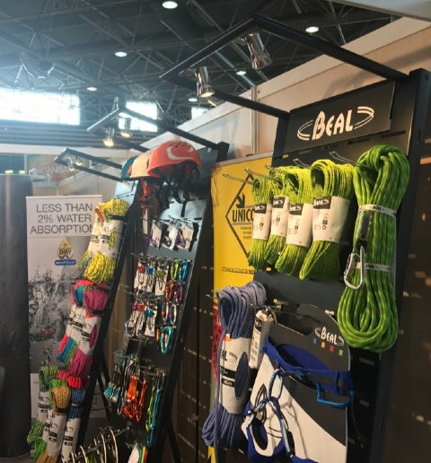 Beal ropes harnesses hooks helmets display